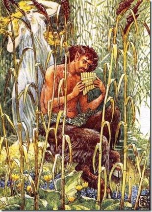پان، إله الطبيعة عند الإغريق، يعزف على نايه السحري